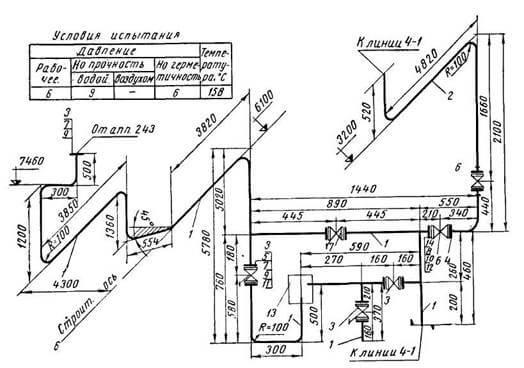 чертежа линии трубопровода